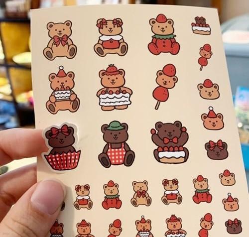[수바코] 곰돌이 스티커 4종 귀여운 핸드폰 스티커 곰 동물 캐릭터 다꾸 폰꾸 스꾸 아이패드 노트북 꾸미기