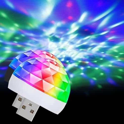 소리에 반응하는 휴대용 USB LED 매직 미러볼 파티조명 젠더3종 포함