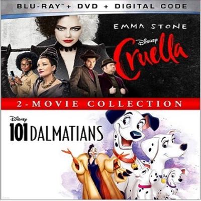 Cruella (2021) / 101 Dalmatians (Animated): 2-Movie Collection (크루엘라 / 101 달마시안)(한글무자막)(Blu-ray + DVD)