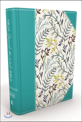 NKJV, Journal the Word Bible, Large Print, Blue Floral Cloth, Red Letter Edition: Reflect, Journal, or Create Art Next to Your Favorite Verses