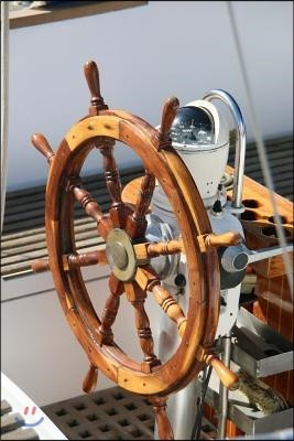 The Helm Journal Steering Wheel on a Yacht/Boat/Ship: 150 Page Lined Notebook/Diary