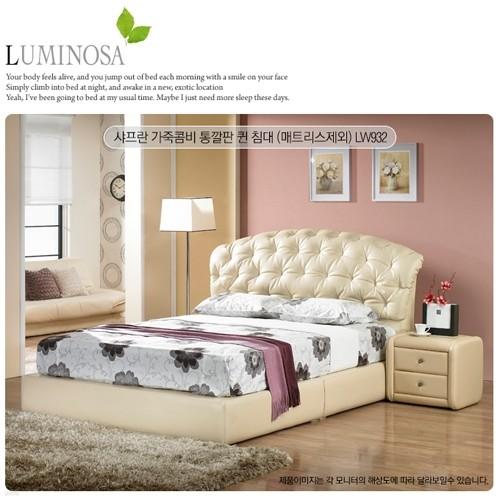 [Luminosa]샤프란 가죽콤비 통깔판 퀸 침대(매트리스제외) LW932
