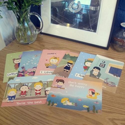 [하이모리] Penguin Loves Postcards 8종 set [ 엽서 / 카드 ]