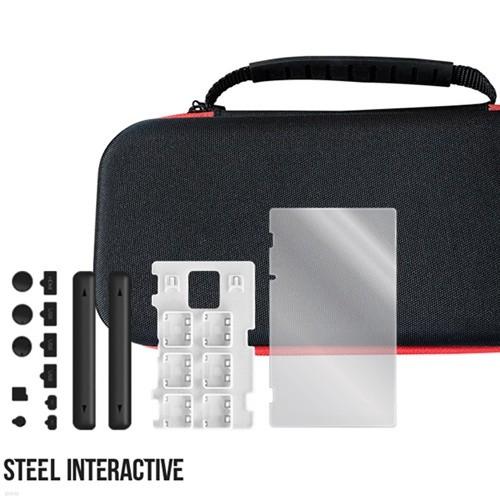 스틸인터렉티브 닌텐도 스위치 필수 악세사리 4종세트(스위치 에어폼, 러버 플러그, 카드 슬롯, 강화유리 쉴드 4가지 구성) (라이브팩토리)