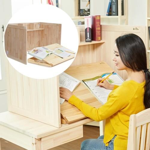 곧은나무 원목 각도조절 독서대 집중력 독서실책상 800 소나무 세트
