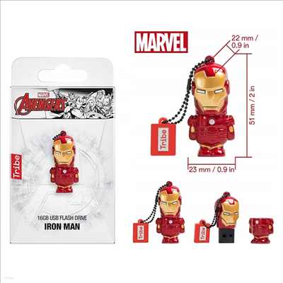 Tribe - (트라이브)Tribe Fd016504 Marvel Avengers Iron Man 16gb Usb Flash Drive (마블)(어벤져스)(아이언 맨)