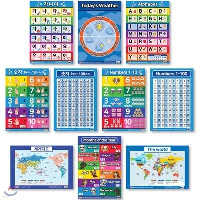 유아 벽보 영어 10종(SET-A) : 가나다, Alphabet, 숫자 1부터-10까지, Numbers 1-10, 세계지도, The world, Months of the Year.