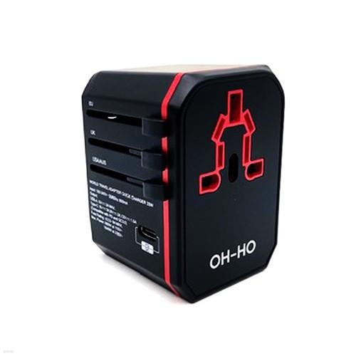가우넷 오호 YM108 여행용 어댑터 QC3.0 PD 고속충전 USB 2포트 C타입