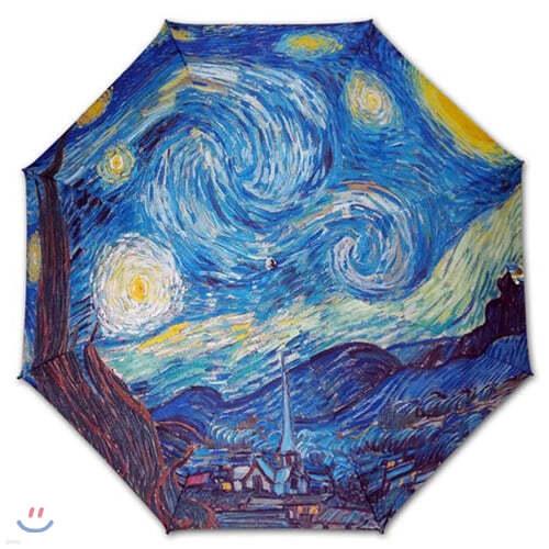명화_우블리-고흐 별이 빛나는 밤에 우산양산겸용 3단자동우산