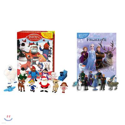 [크리스마스 비지북 2종 세트] 디즈니 겨울왕국 2 + 빨간코 사슴 루돌프 크리스마스 비지북 피규어책