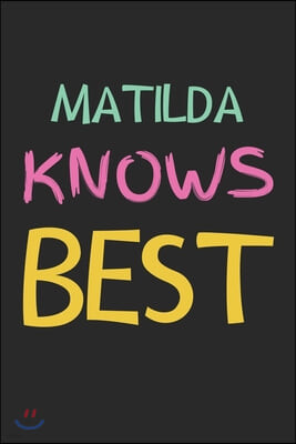 Matilda Knows Best: Lined Journal, 120 Pages, 6 x 9, Matilda Personalized Name Notebook Gift Idea, Black Matte Finish (Matilda Knows Best
