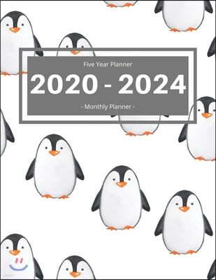Five Year Planner 2020 - 2024 Monthly Planner: Calendar Schedule I Monthly Calendar I Adress Organizer I Jan 2020 - Dec 2024 I 60 Months I Penguin