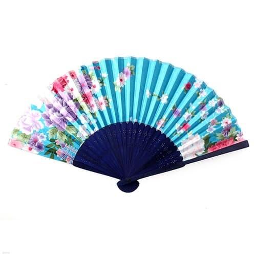 대나무 전통 부채 / 휴대용 꽃무늬 부채 여름용품