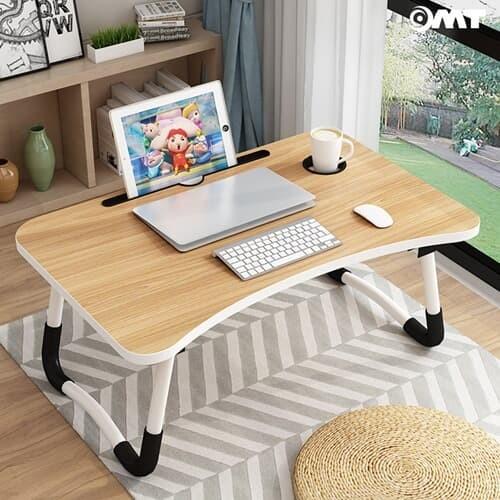 접이식 태블릿거치+컵홀더내장 좌식 원목 테이블 2color