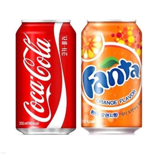 코카콜라 콜라 355ml 24캔 + 환타 오렌지 355ml 24캔