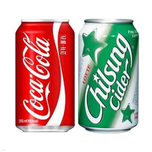 코카콜라 콜라 355ml 24캔 + 칠성사이다 355ml 24캔
