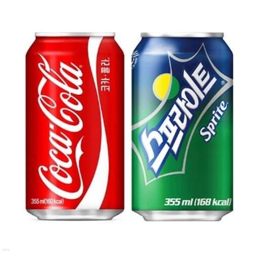 코카콜라 콜라 355ml 24캔 + 스프라이트 355ml 24캔