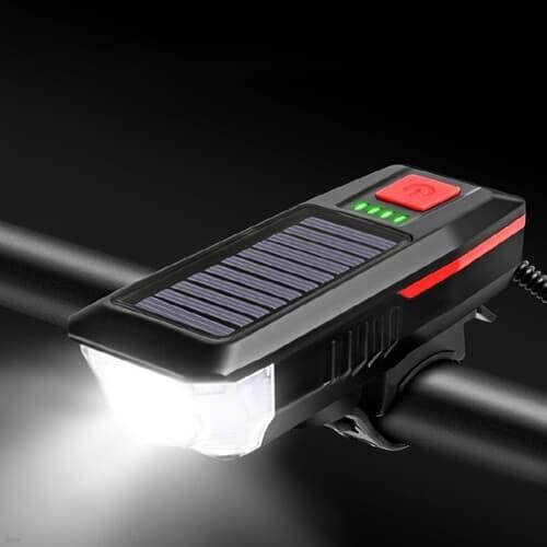 태양광 솔라 자전거 LED 전조등 라이트 전자벨 USB