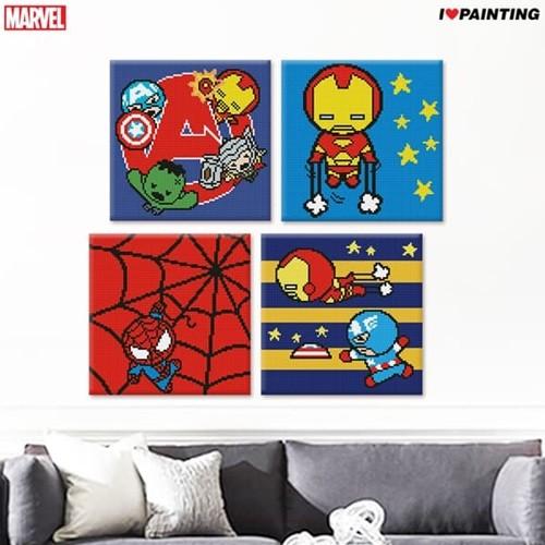 DIY 마블 어벤저스 아이언맨 스파이더맨 캡틴 아메리카 토르 블랙팬서 닥터스트레인지 보석십자수 (25 X 25)