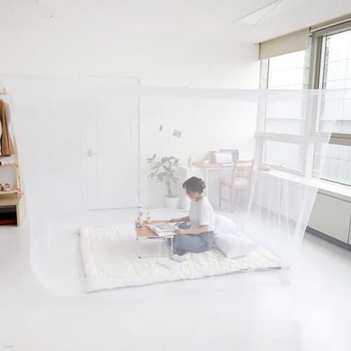 모기차단 침대 간편설치 다인용 사각 모기장텐트 소형