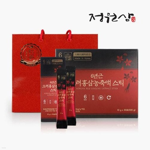 [정원삼]실속형 홍삼스틱 6년근 고려홍삼농축액 스틱 (10g*30포)
