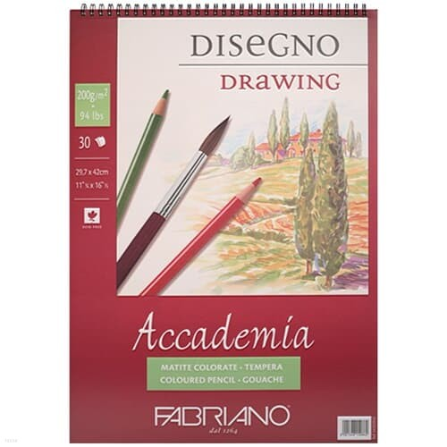 [파브리아노] 아카데미아 스케치북 스프링 과슈 A5 200g AP01