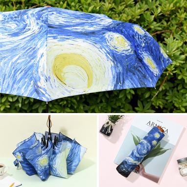고흐 명화 3단 우산